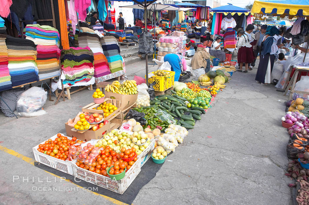 Otavalo market, a large and famous Andean market high in the Ecuadorian mountains, is crowded with locals and tourists each Saturday. San Pablo del Lago, Otavalo, Ecuador, natural history stock photograph, photo id 16792
