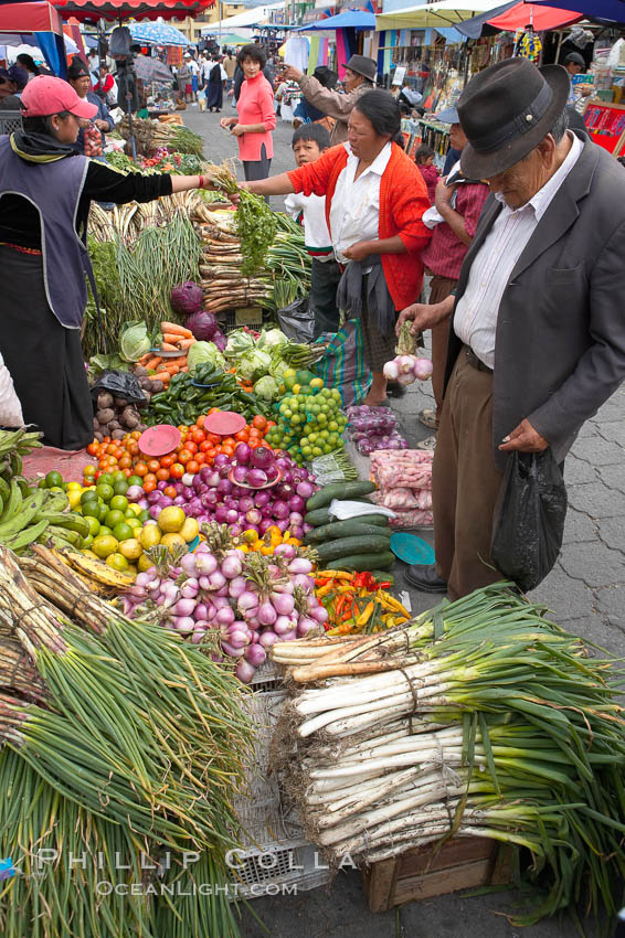 Otavalo market, a large and famous Andean market high in the Ecuadorian mountains, is crowded with locals and tourists each Saturday. San Pablo del Lago, natural history stock photograph, photo id 16801