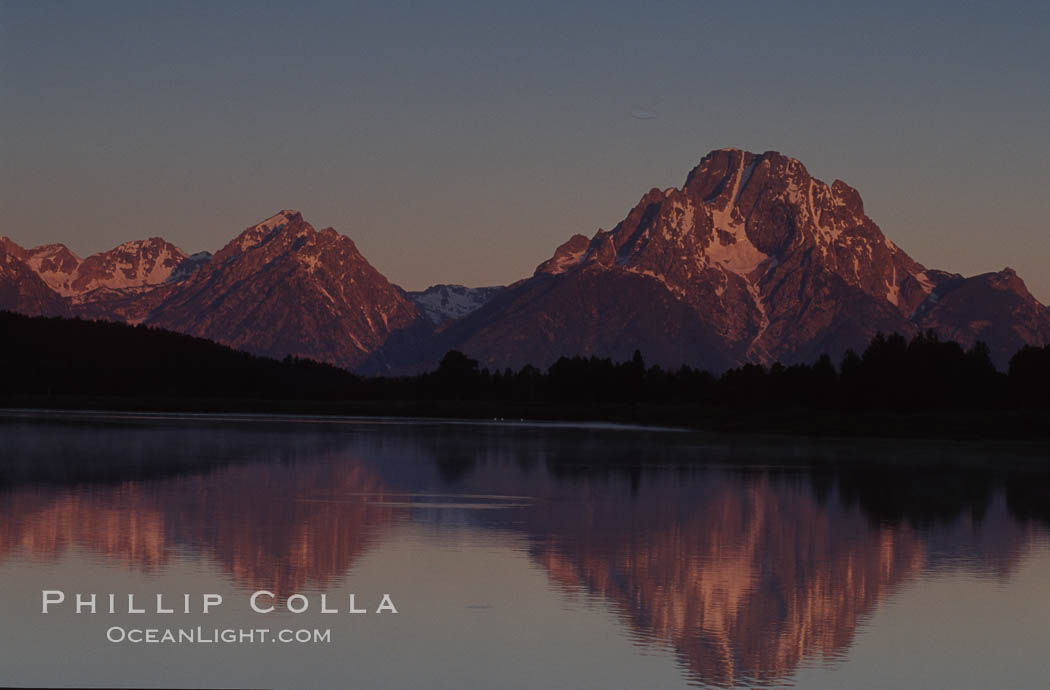 Mount Moran in the Teton Range is reflected at sunrise in a sidewater of the Snake River at Oxbow Bend, summer. Oxbow Bend, Grand Teton National Park, Wyoming, USA, natural history stock photograph, photo id 07389