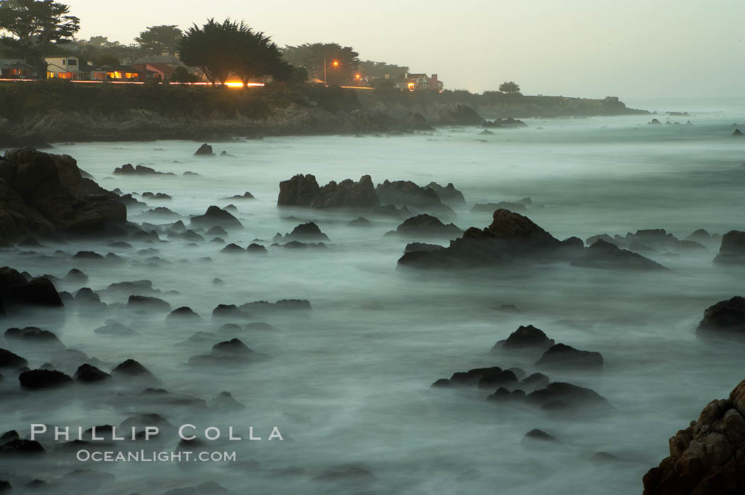 Image 14912, Waves breaking over rocks appear as a foggy mist in this time exposure.  Pacific Grove. Lovers Point, Pacific Grove, California, USA, Phillip Colla, all rights reserved worldwide. Keywords: california, environment, landscape, lovers point, nature, ocean, outdoors, outside, pacific grove, scene, scenery, scenic, seascape, usa, water.