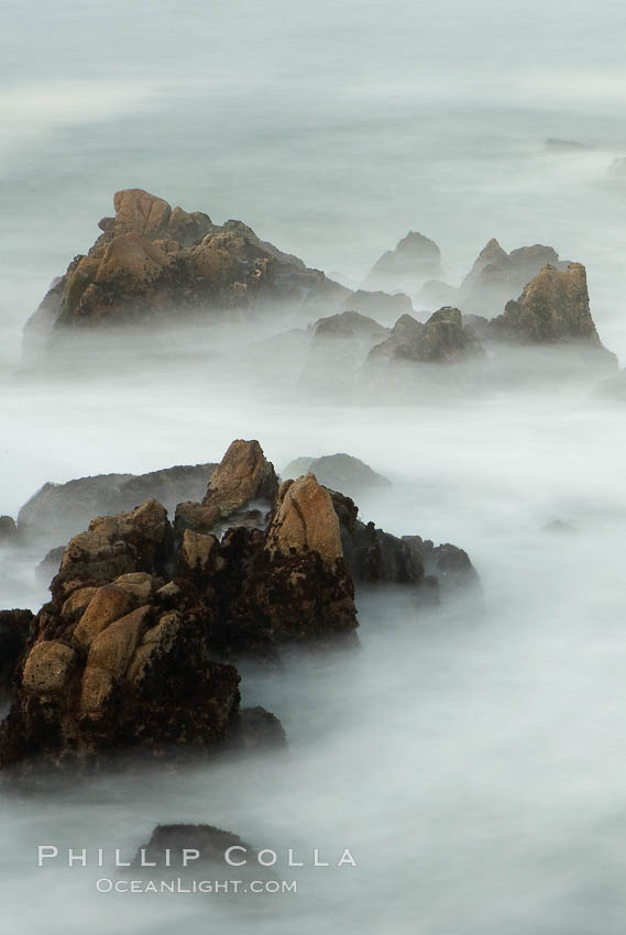 Waves breaking over rocks appear as a foggy mist in this time exposure.  Pacific Grove. Lovers Point, California, USA, natural history stock photograph, photo id 14911