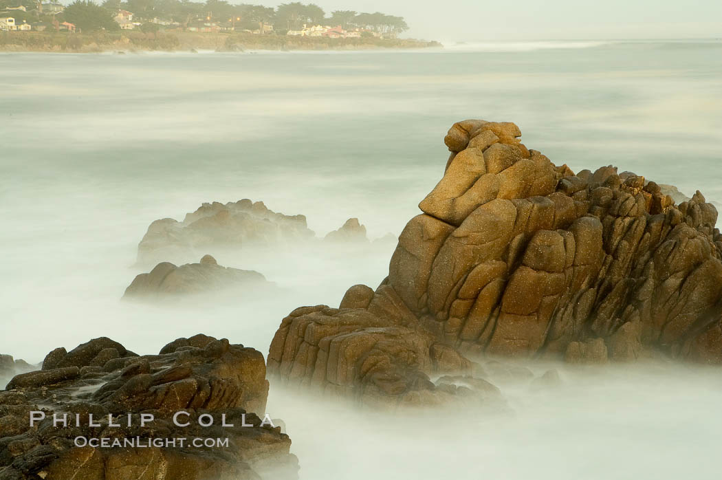 Waves breaking over rocks appear as a foggy mist in this time exposure.  Pacific Grove. Lovers Point, Pacific Grove, California, USA, natural history stock photograph, photo id 14915