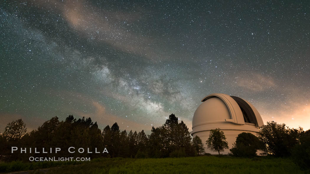 Palomar Observatory at Night under the Milky Way, Panoramic photograph. Palomar Observatory, Palomar Mountain, California, USA, natural history stock photograph, photo id 29346