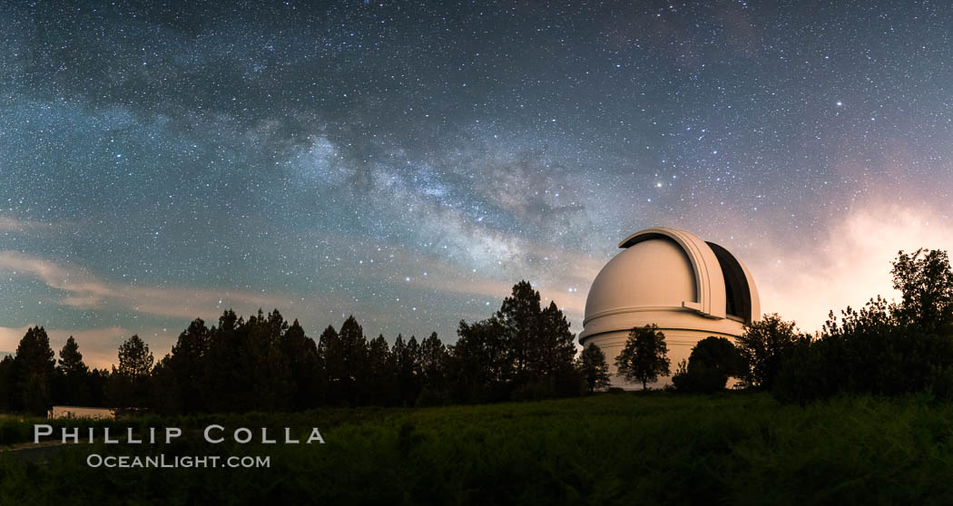 Palomar Observatory at Night under the Milky Way, Panoramic photograph. Palomar Observatory, Palomar Mountain, California, USA, natural history stock photograph, photo id 29344