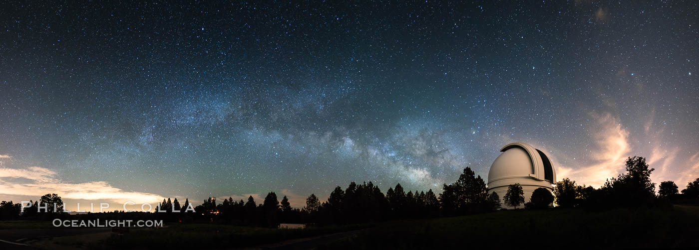 Palomar Observatory at Night under the Milky Way, Panoramic photograph. Palomar Observatory, Palomar Mountain, California, USA, natural history stock photograph, photo id 29348