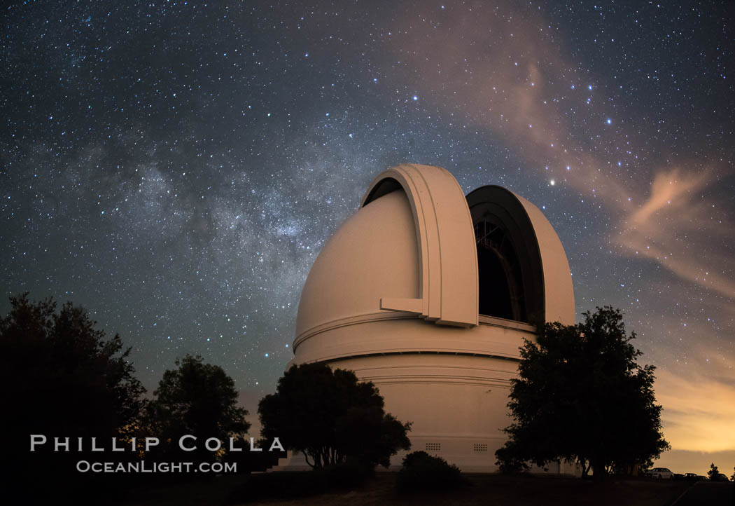 Palomar Observatory at Night under the Milky Way, Panoramic photograph. Palomar Observatory, Palomar Mountain, California, USA, natural history stock photograph, photo id 29339