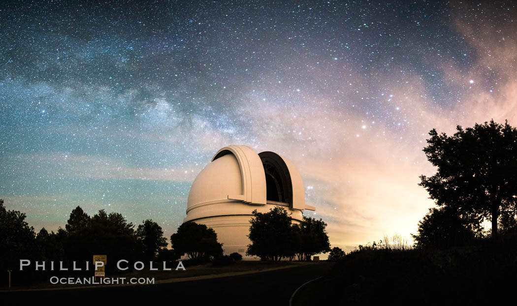 Palomar Observatory at Night under the Milky Way, Panoramic photograph. Palomar Observatory, Palomar Mountain, California, USA, natural history stock photograph, photo id 29343