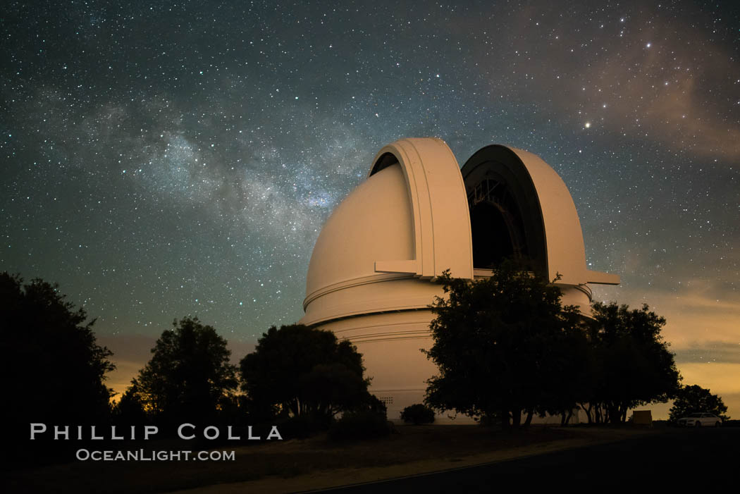 Palomar Observatory at Night under the Milky Way. Palomar Mountain, California, USA, natural history stock photograph, photo id 29347