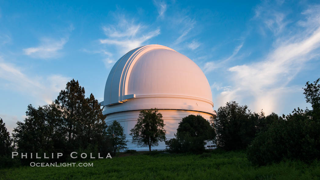 Palomar Observatory at sunset. Palomar Observatory, Palomar Mountain, California, USA, natural history stock photograph, photo id 29326