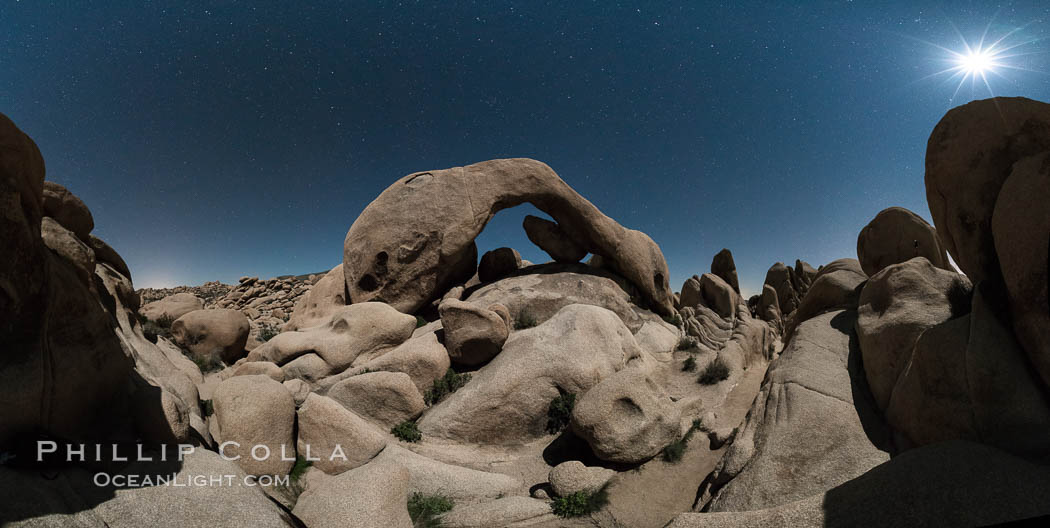 Panoramic image of Arch Rock lit by a full moon. Joshua Tree National Park, California, USA, natural history stock photograph, photo id 29193