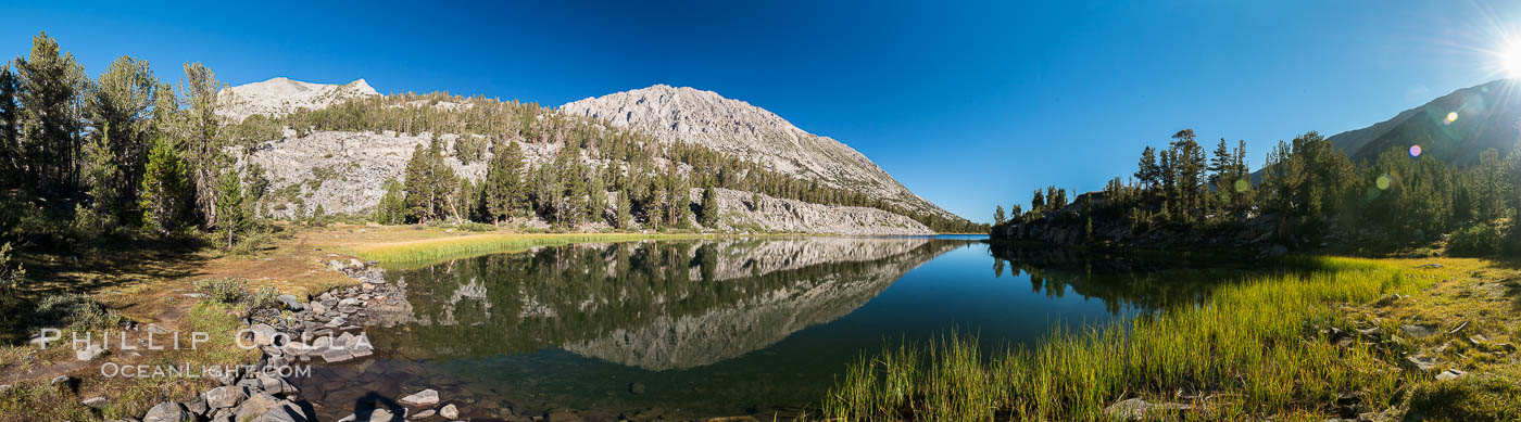 Panorama of Box Lake, morning, Little Lakes Valley, John Muir Wilderness, Inyo National Forest. Little Lakes Valley, Inyo National Forest, California, USA, natural history stock photograph, photo id 31179