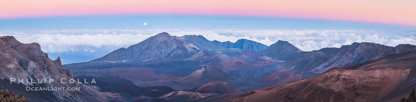 Panorama of Full Moon and Earth Shadow over Haleakala, Maui, Hawaii.  The dark band on the horizon is the shadow of the earth, while the lighter pink band is atmosphere that is still lit by the setting sun. Maui, Hawaii, USA, natural history stock photograph, photo id 34515
