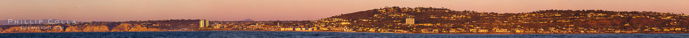 Panorama of La Jolla, with Mount Soledad aglow at sunset, viewed from the Pacific Ocean offshore of San Diego. California, USA, natural history stock photograph, photo id 27086