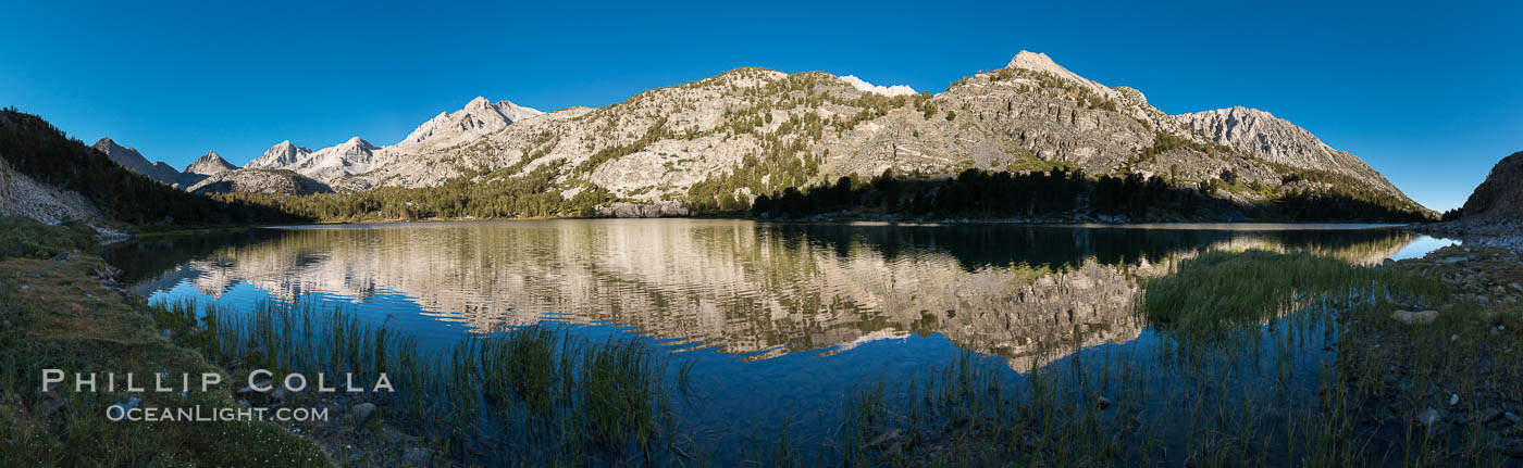 Image 31175, Panorama of Long Lake at Sunrise, Little Lakes Valley, John Muir Wilderness, Inyo National Forest. Little Lakes Valley, Inyo National Forest, California, USA, Phillip Colla, all rights reserved worldwide. Keywords: alpine, eastern sierra, inyo national forest, john muir wilderness, lake, little lakes valley, long lake, mountain, outdoors, outside, rock creek, scene, scenery, sierra nevada.