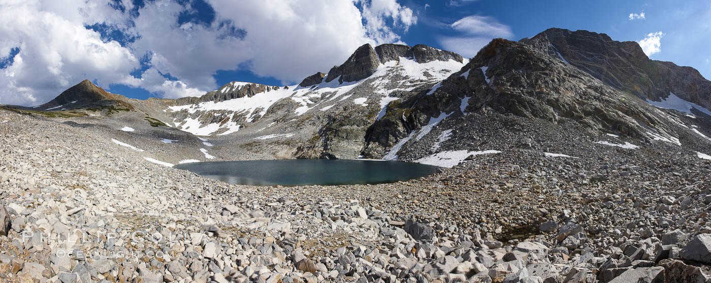 Panorama of Nameless Lake (10709'), surrounded by glacier-sculpted granite peaks of the Cathedral Range, near Vogelsang High Sierra Camp. Yosemite National Park, California, USA, natural history stock photograph, photo id 23211