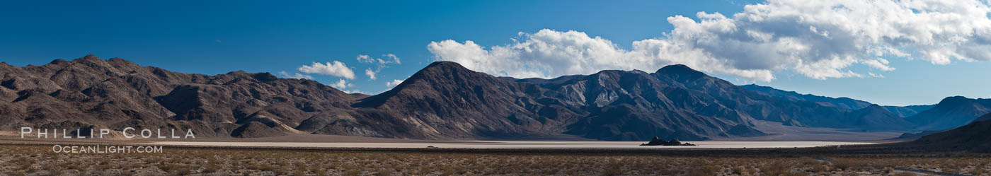 Panorama of the Racetrack at Death Valley. Racetrack Playa, Death Valley National Park, California, USA, natural history stock photograph, photo id 27686