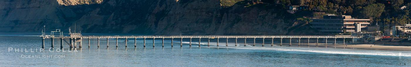 Panorama of SIO Pier, Scripps Institute of Oceanography research pier. Scripps Institution of Oceanography, La Jolla, California, USA, natural history stock photograph, photo id 26545