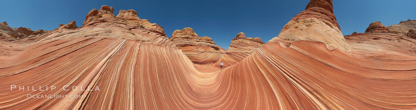 Panorama of the Wave.  The Wave is a sweeping, dramatic display of eroded sandstone, forged by eons of water and wind erosion, laying bare striations formed from compacted sand dunes over millenia.  This panoramic picture is formed from thirteen individual photographs. North Coyote Buttes, Paria Canyon-Vermilion Cliffs Wilderness, Arizona, USA, natural history stock photograph, photo id 20702