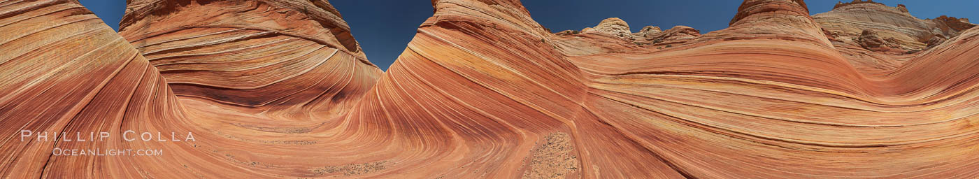 Panorama of the Wave.  The Wave is a sweeping, dramatic display of eroded sandstone, forged by eons of water and wind erosion, laying bare striations formed from compacted sand dunes over millenia.  This panoramic picture is formed from thirteen individual photographs. North Coyote Buttes, Paria Canyon-Vermilion Cliffs Wilderness, Arizona, USA, natural history stock photograph, photo id 20700
