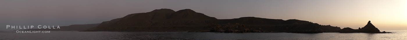 Panoramic photo of San Clemente Island, southern end from China Hat Point (aka, Balanced Rock, right) along the length of Pyramid Cove, sunrise. California, USA, natural history stock photograph, photo id 23599