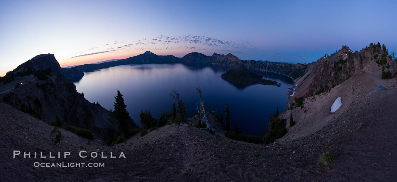 Panoramic picture of Crater Lake at dawn, sunrise, morning, panorama of Crater Lake National Park. Oregon, USA, natural history stock photograph, photo id 28658