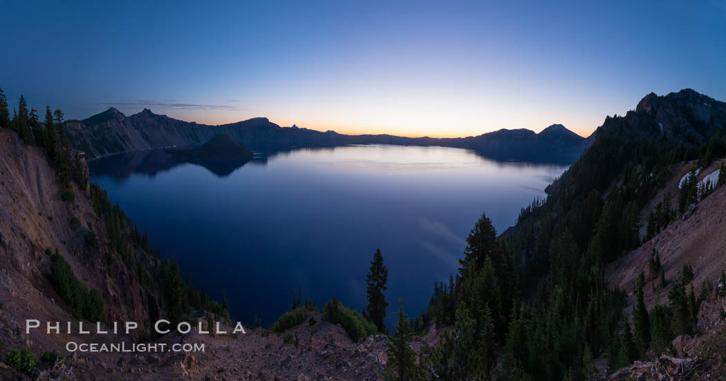 Panoramic picture of Crater Lake at dawn, sunrise, morning, panorama of Crater Lake National Park. Crater Lake National Park, Oregon, USA, natural history stock photograph, photo id 28631