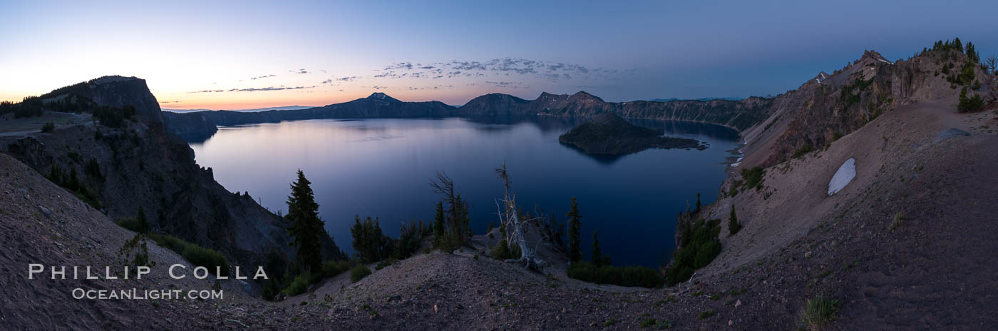 Panoramic picture of Crater Lake at dawn, sunrise, morning, panorama of Crater Lake National Park. Crater Lake National Park, Oregon, USA, natural history stock photograph, photo id 28651