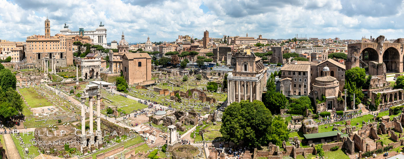 Panoramic view of the Roman Forum, Rome. Italy, natural history stock photograph, photo id 35562