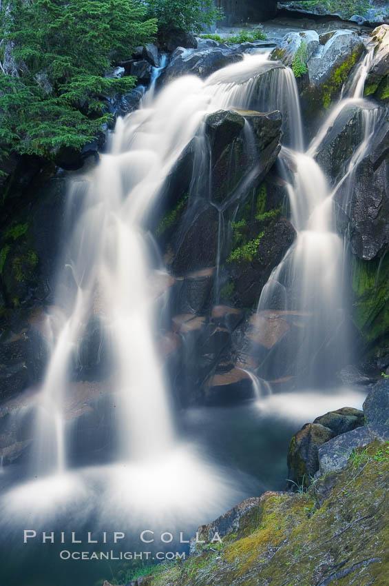 Paradise Falls tumble over rocks in Paradise Creek. Paradise Creek, Mount Rainier National Park, Washington, USA, natural history stock photograph, photo id 13865