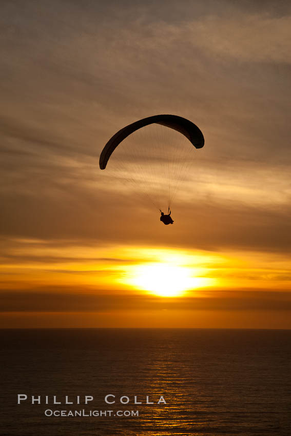 Paraglider soaring at Torrey Pines Gliderport, sunset, flying over the Pacific Ocean. La Jolla, California, USA, natural history stock photograph, photo id 24293