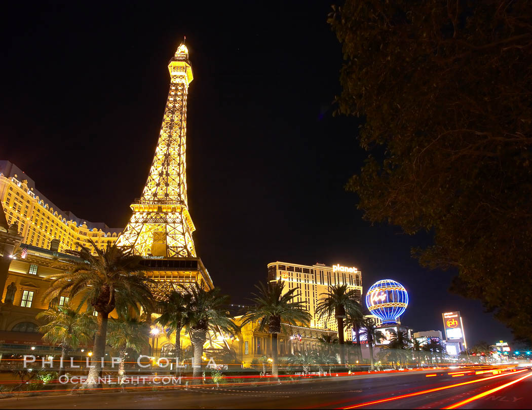 Half-scale replica of the Eiffel Tower rises above Las Vegas Boulevard, the Strip, in front of the Paris Hotel. Nevada, USA, natural history stock photograph, photo id 20581