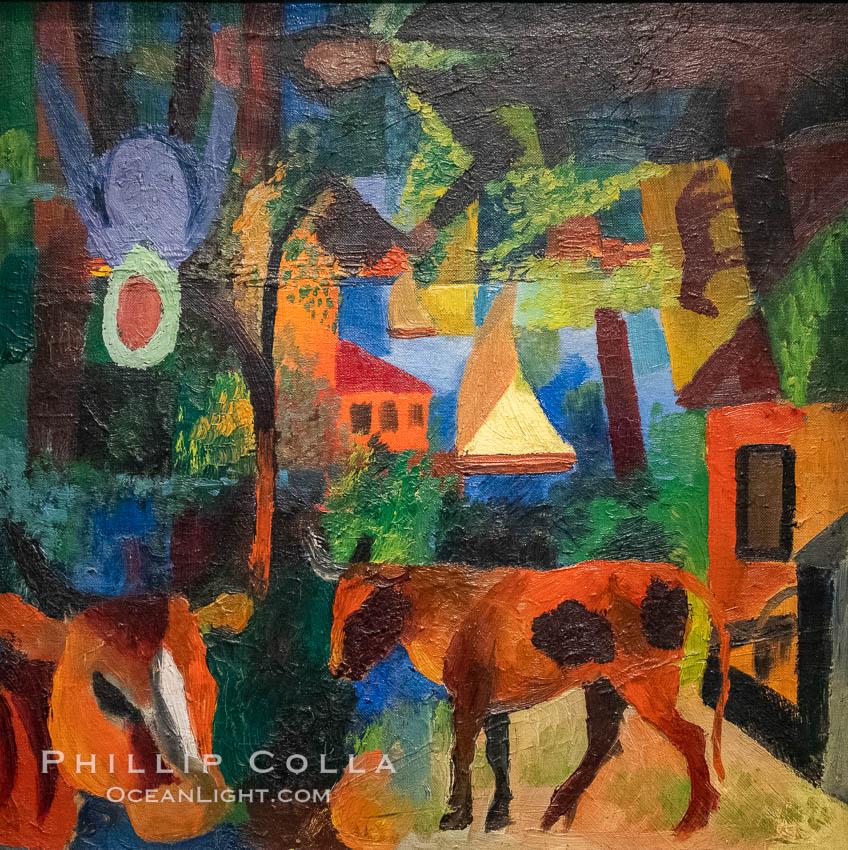 """Paysage avec vaches, voilier et figures, August Macke, 1914,  Musee de l""""Orangerie. Musee de lOrangerie, Paris, France, natural history stock photograph, photo id 35694"""