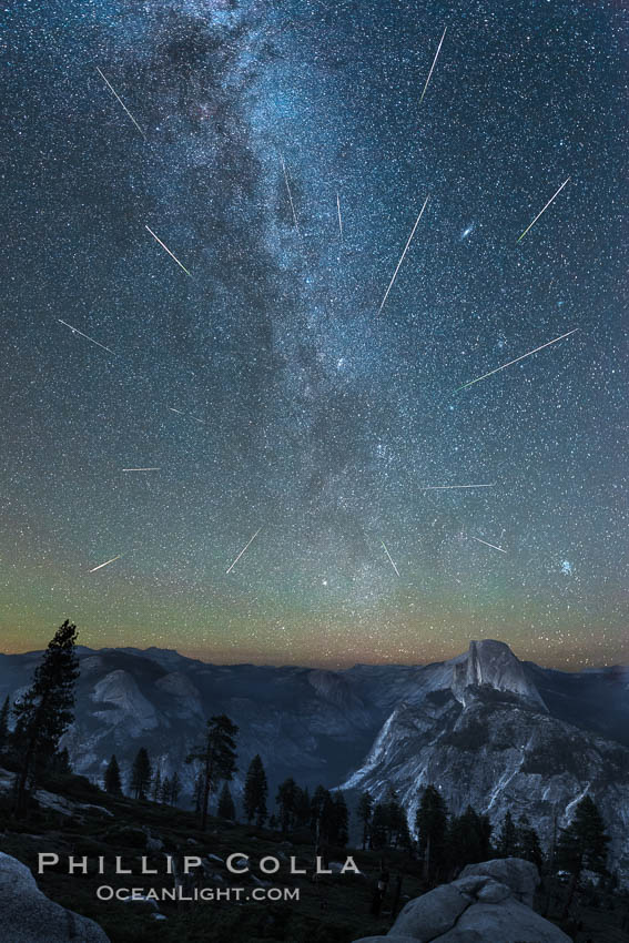 Perseid Meteor Shower and Milky Way, Andromeda Galaxy and the Pleides Cluster, over Half Dome and Yosemite National Park. Glacier Point, California, USA, natural history stock photograph, photo id 28746
