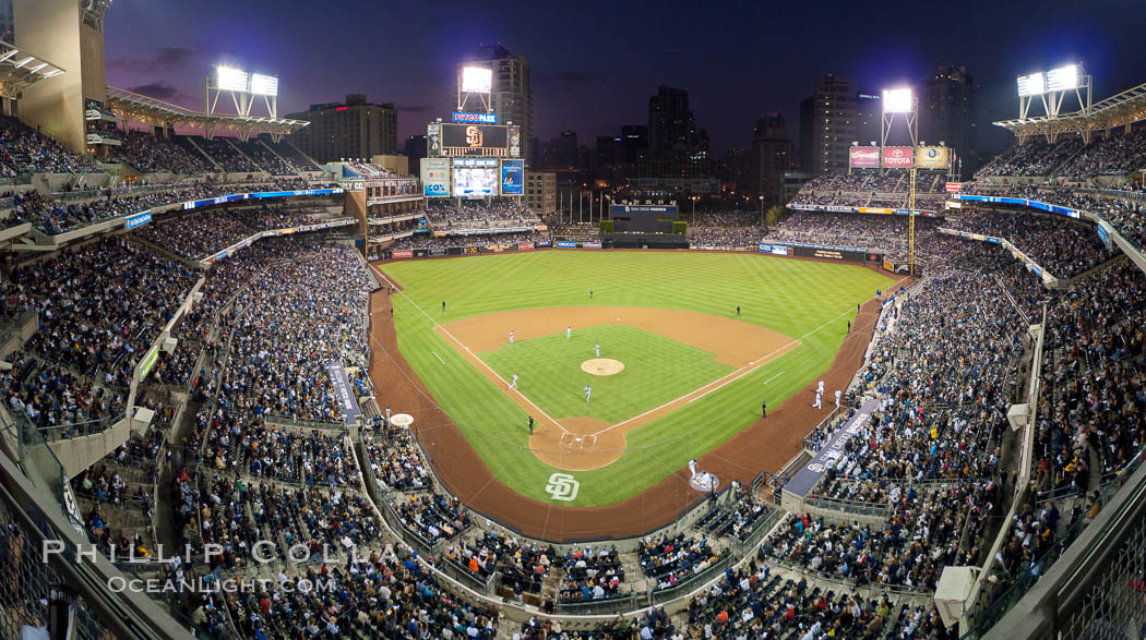 Petco Park, home of the San Diego Padres professional baseball team, overlooking downtown San Diego at dusk. San Diego, California, USA, natural history stock photograph, photo id 27052
