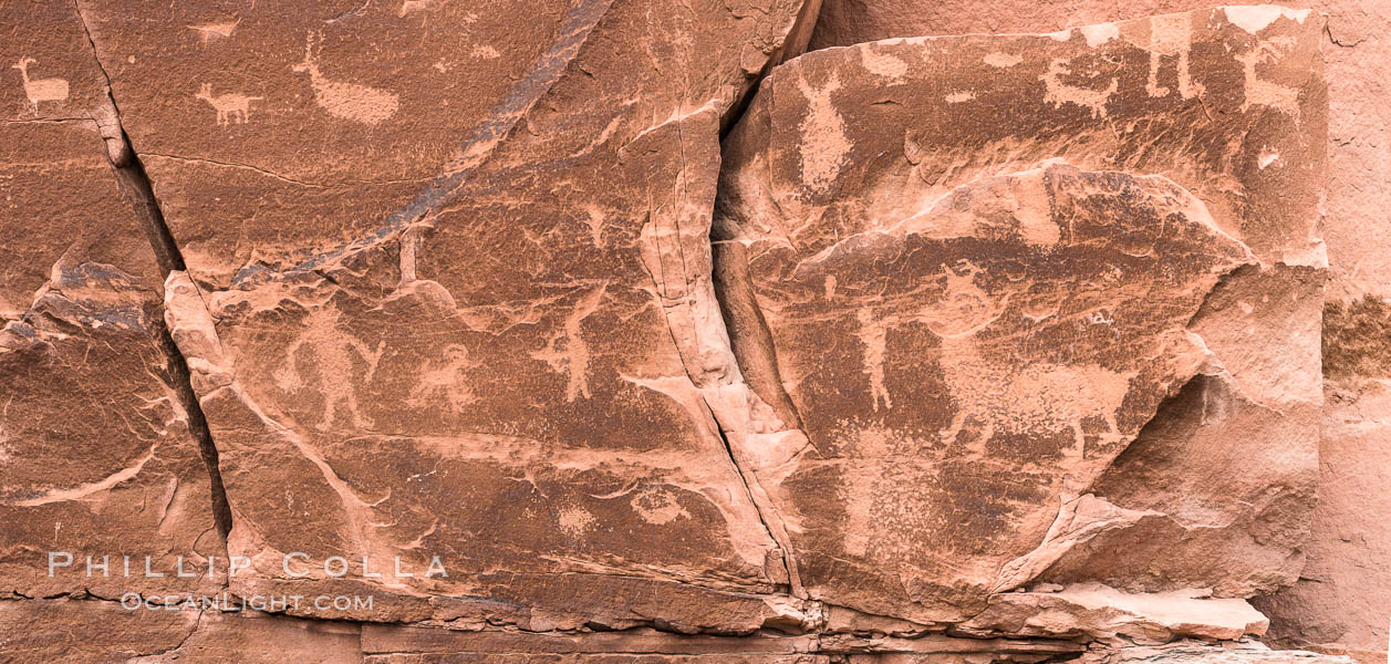 Petroglyphs and native American rock art, Moab, Utah. USA, natural history stock photograph, photo id 29267