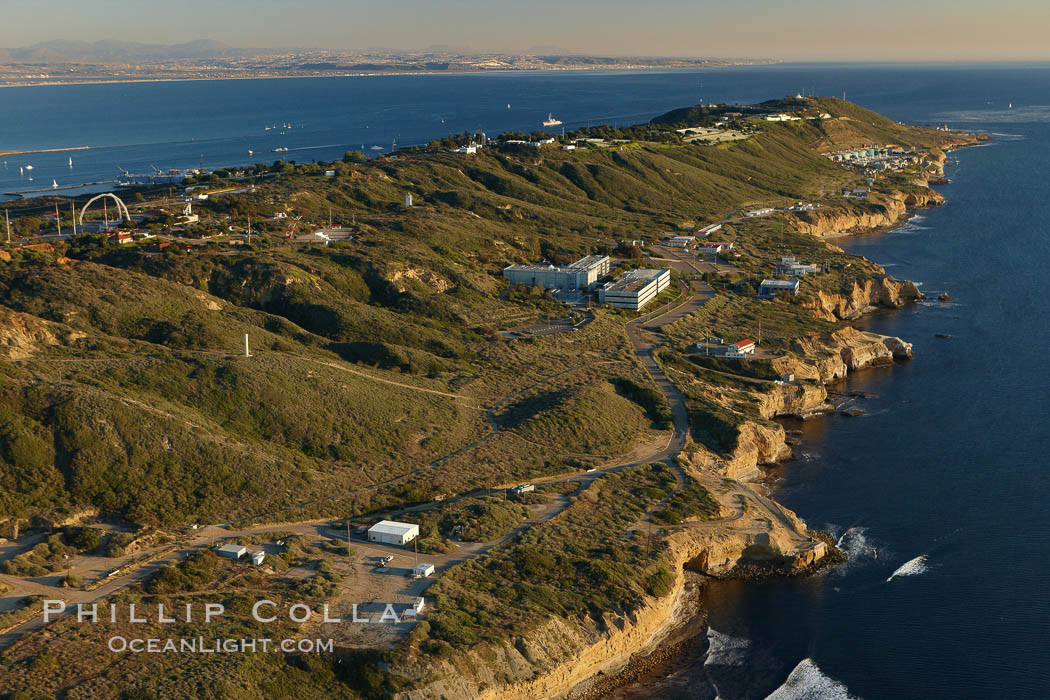 Point Loma peninsula, with scalloped sandstone cliffs edging the Pacific Ocean, looking south.   Navy facilities are scattered along this section of Point Loma. San Diego, California, USA, natural history stock photograph, photo id 22305
