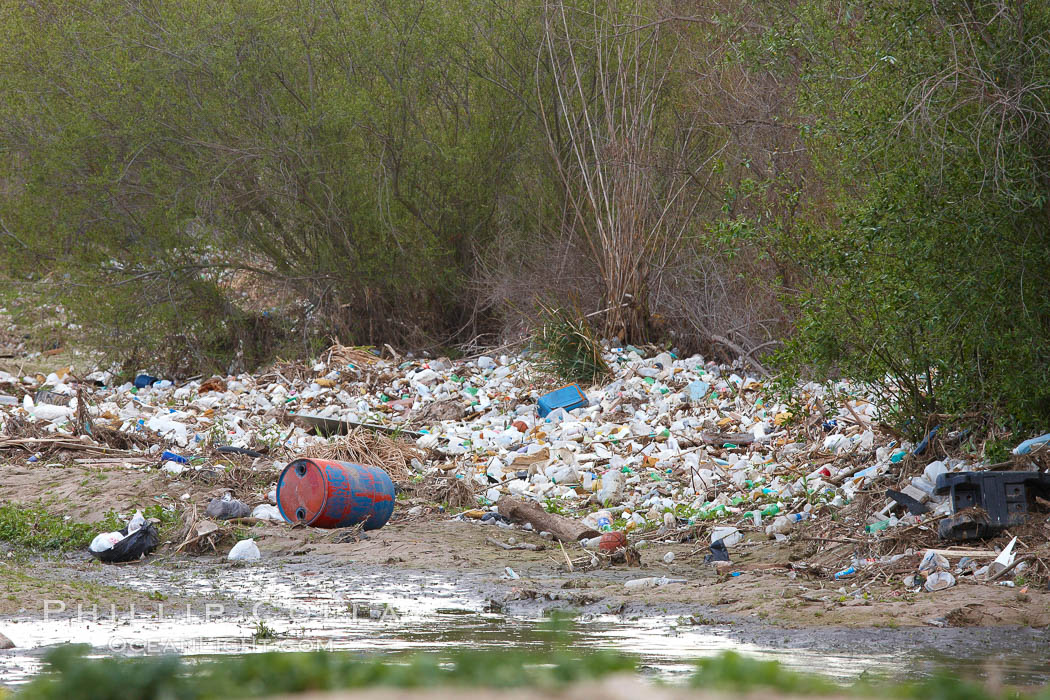 Pollution accumulates in the Tijuana River Valley following winter storms which flush the trash from Tijuana in Mexico across the border into the United States. Imperial Beach, San Diego, California, USA, natural history stock photograph, photo id 22548