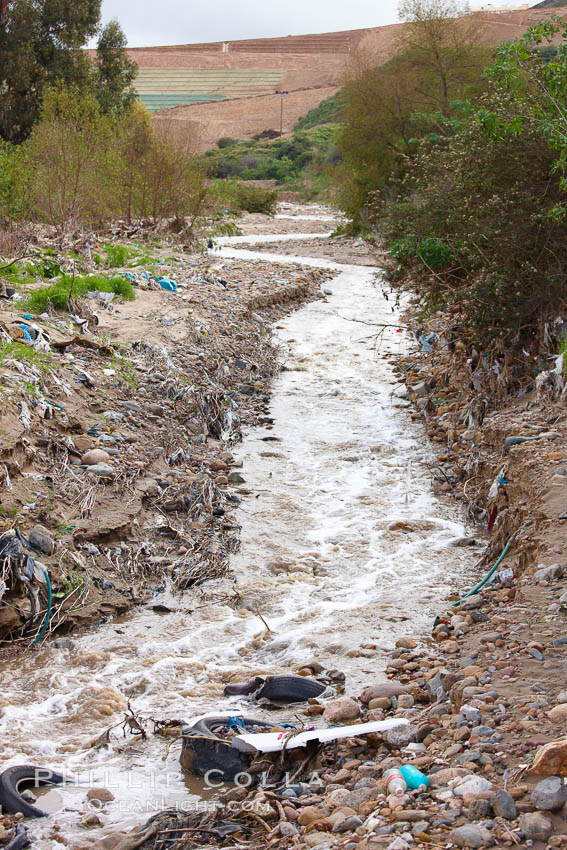 Pollution accumulates in the Tijuana River Valley following winter storms which flush the trash from Tijuana in Mexico across the border into the United States. Imperial Beach, San Diego, California, USA, natural history stock photograph, photo id 22552