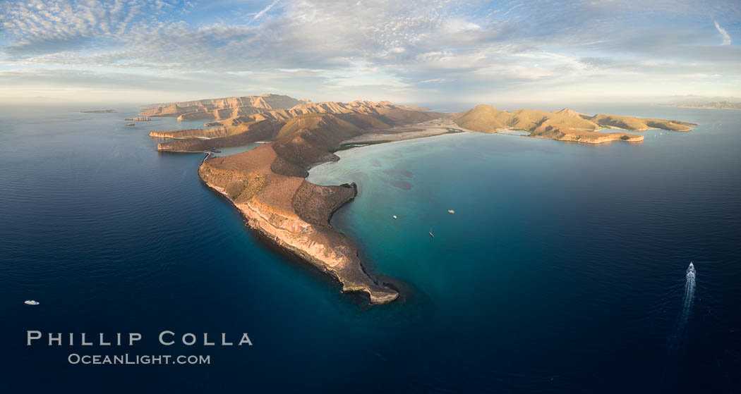 Punta Prieta and San Gabriel Bay, Aerial Photo, Sunset. Isla Espiritu Santo, Baja California, Mexico, natural history stock photograph, photo id 32472