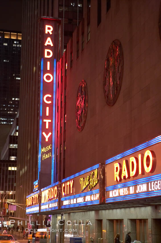 Radio City Music Hall, neon lights, night. Radio City Music Hall, New York City, New York, USA, natural history stock photograph, photo id 11173