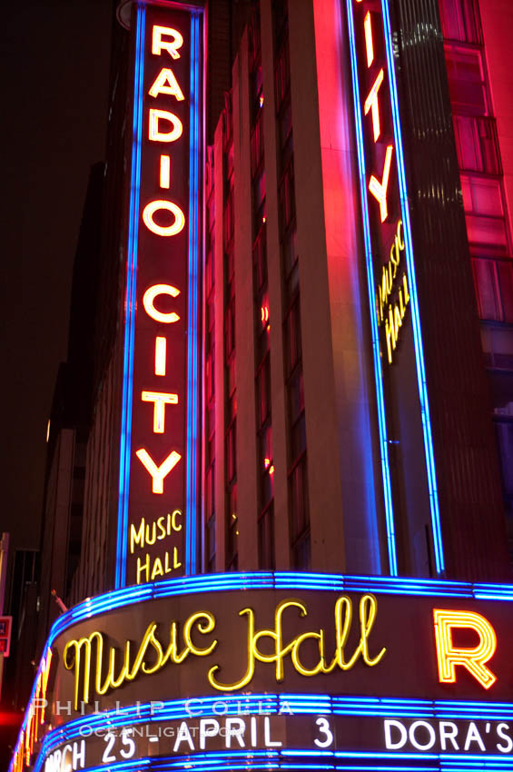 Radio City Music Hall, neon lights, night. Radio City Music Hall, New York City, New York, USA, natural history stock photograph, photo id 11177
