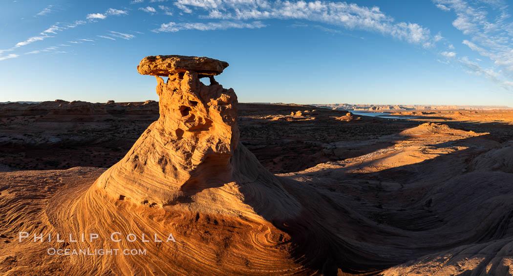 Radio Tower Rock at Sunset, Page, Arizona. Page, Arizona, USA, natural history stock photograph, photo id 36023