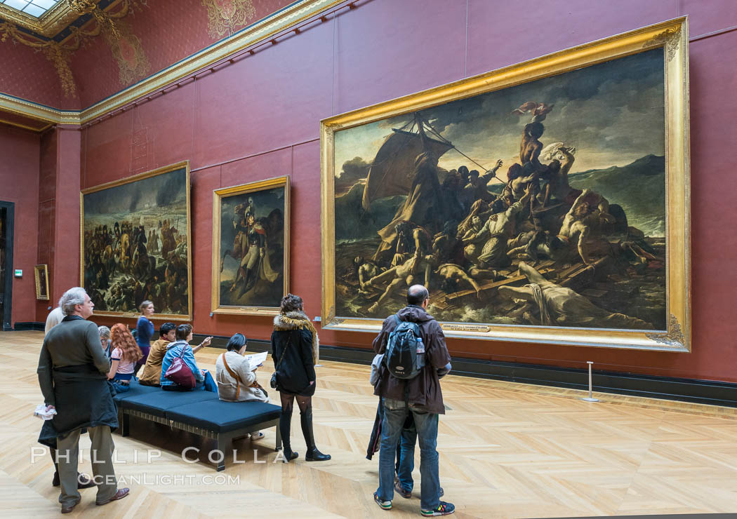 The Raft of the Medusa, Le Radeau de la Meduse, oil painting by French Romantic painter Theodore Gericault, 1819. Musee du Louvre. Paris, France, natural history stock photograph, photo id 28107
