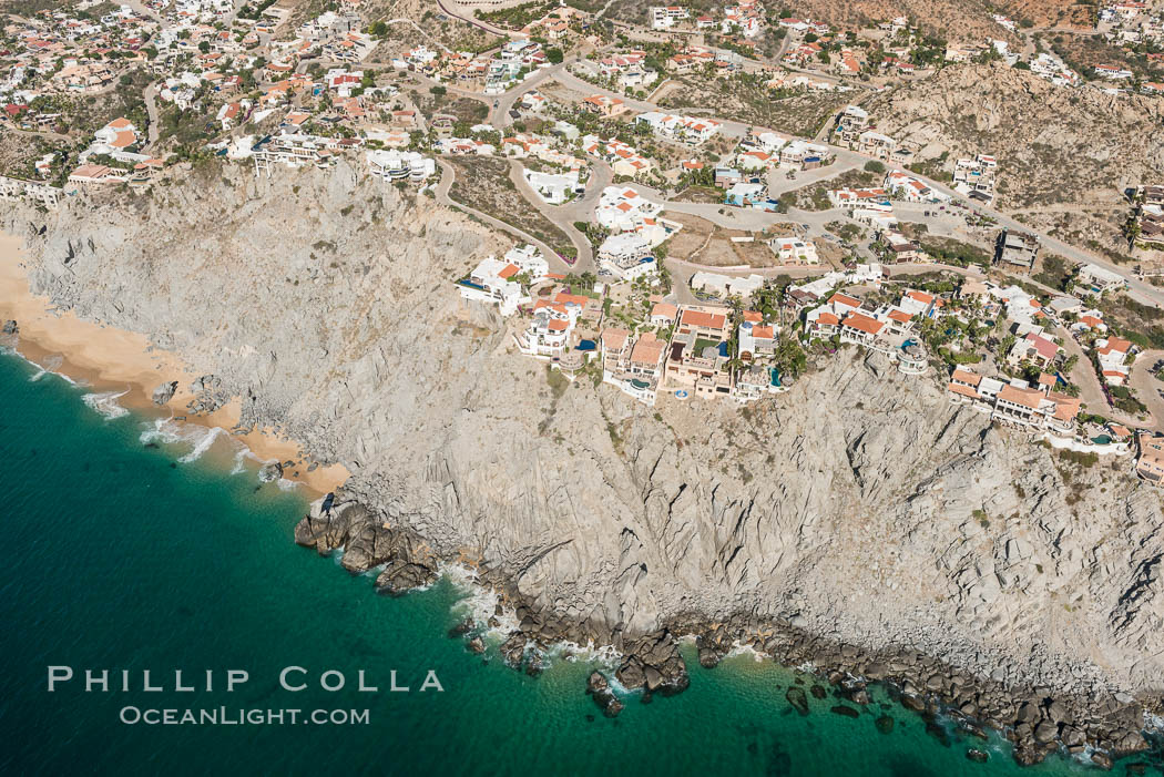 Private homes built on the bluffs overlooking the ocean at Cabo San Lucas. Baja California, Mexico, natural history stock photograph, photo id 28886