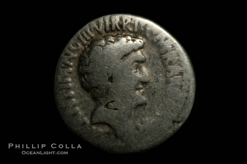 Roman emperors Marc Antony and Octavian (41 B.C.), depicted on ancient Roman coin (silver, denom/type: Denarius)., natural history stock photograph, photo id 06519