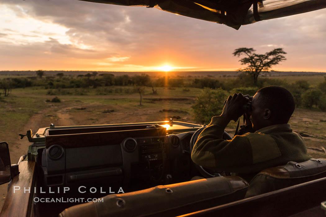 Safari guide spotting wildlife at sunrise, Olare Orok Conservancy, Kenya. Olare Orok Conservancy, Kenya, natural history stock photograph, photo id 30047