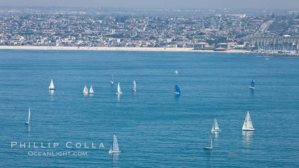 Sailboats and coastline near Redondo Beach. Redondo Beach, California, USA, natural history stock photograph, photo id 26035