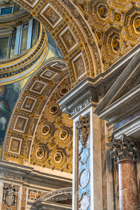Saint Peter's Basilica interior, Vatican City. Rome, Italy, natural history stock photograph, photo id 35565