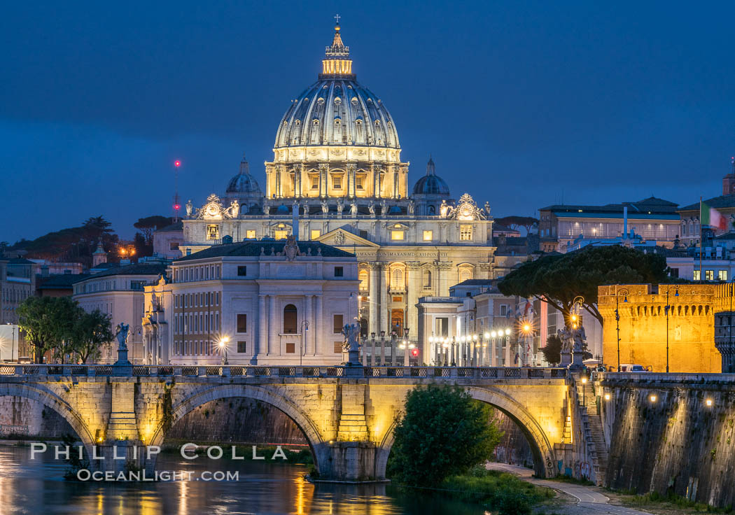 Saint Peter's Basilica over the Tiber River, Vatican City. Vatican City, Rome, Italy, natural history stock photograph, photo id 35553