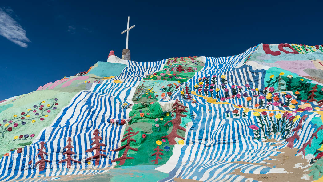 Salvation Mountain, the life work of Leonard Knight, near the town of Niland, California. Salvation Mountain, Niland, California, USA, natural history stock photograph, photo id 29216